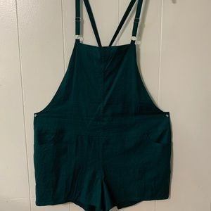 Teal Stretch Linen Overalls